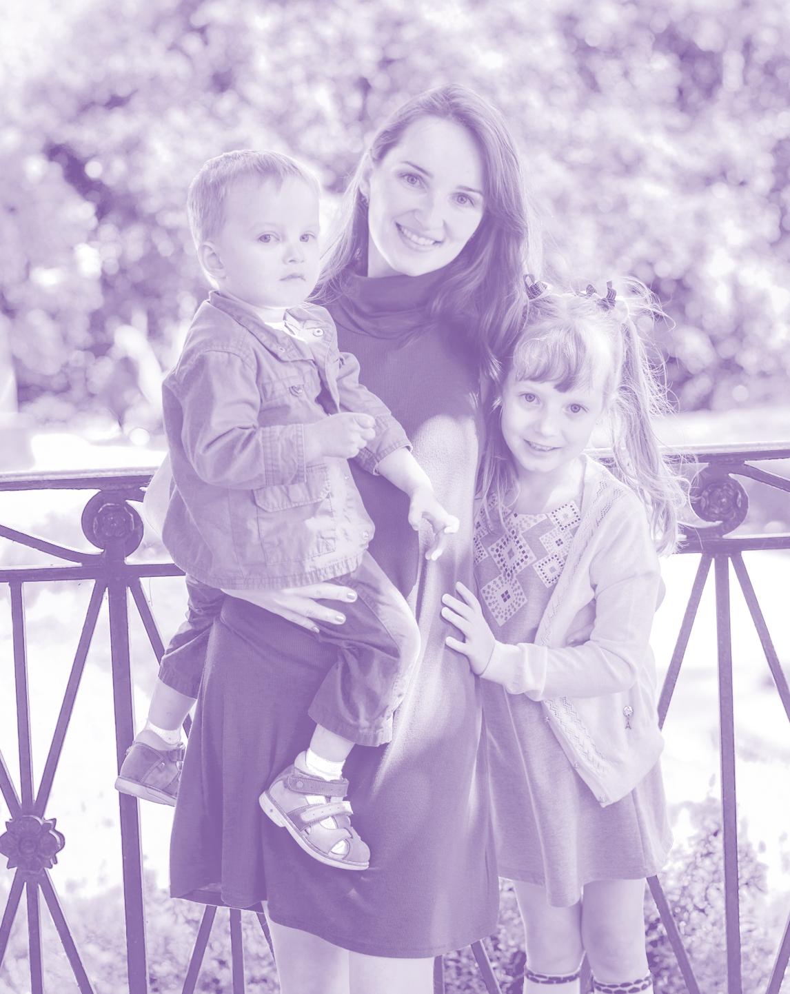 Julie Pavlova with her kids