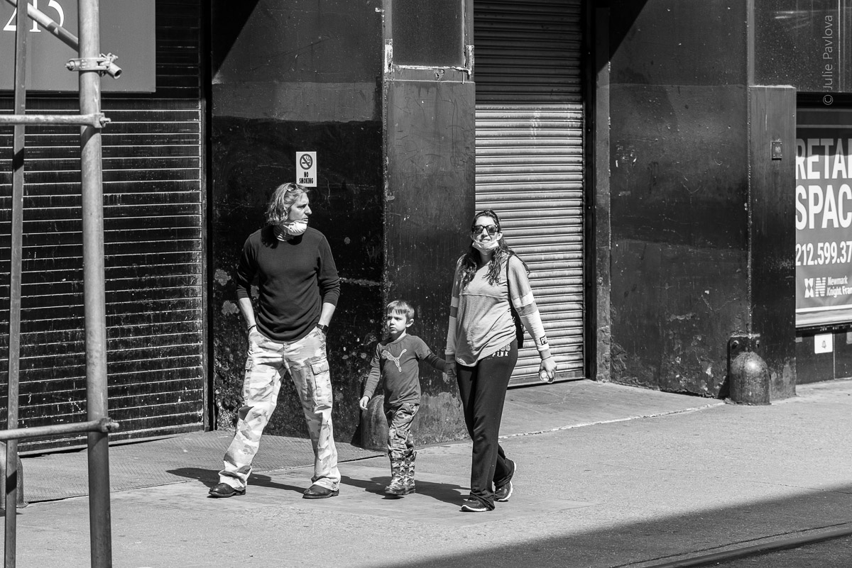 People in masks. Manhattan, New York, during COVID-19. (04/26/2020 by Julie Pavlova Photography)