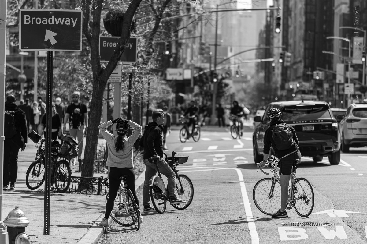 Bicyclists. Manhattan, New York, during COVID-19. (04/26/2020 by Julie Pavlova Photography)