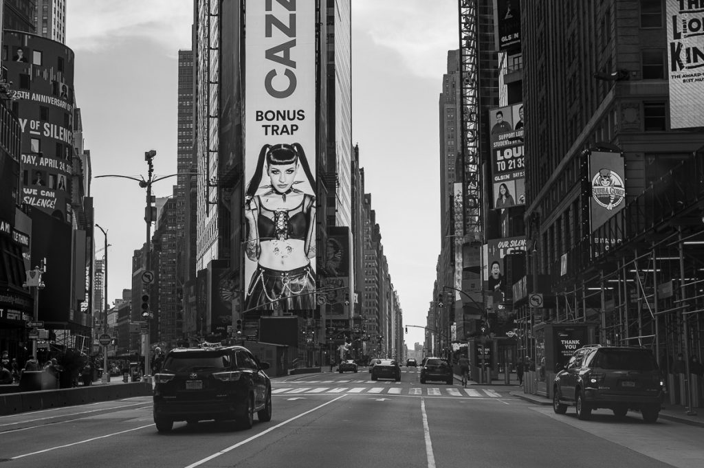 Bonus Trap. Times Square. Streets of Manhattan, New York, during COVID-19. (04/26/2020 by Julie Pavlova Photography)