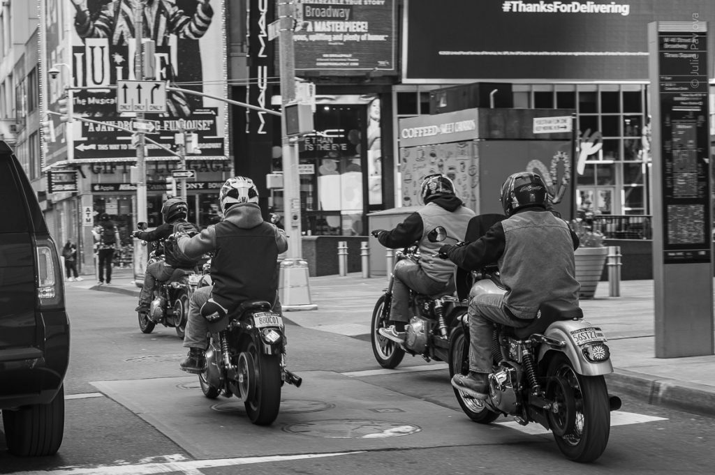 Times Square. Bikers. Streets of Manhattan, New York, during COVID-19. (04/26/2020 by Julie Pavlova Photography)