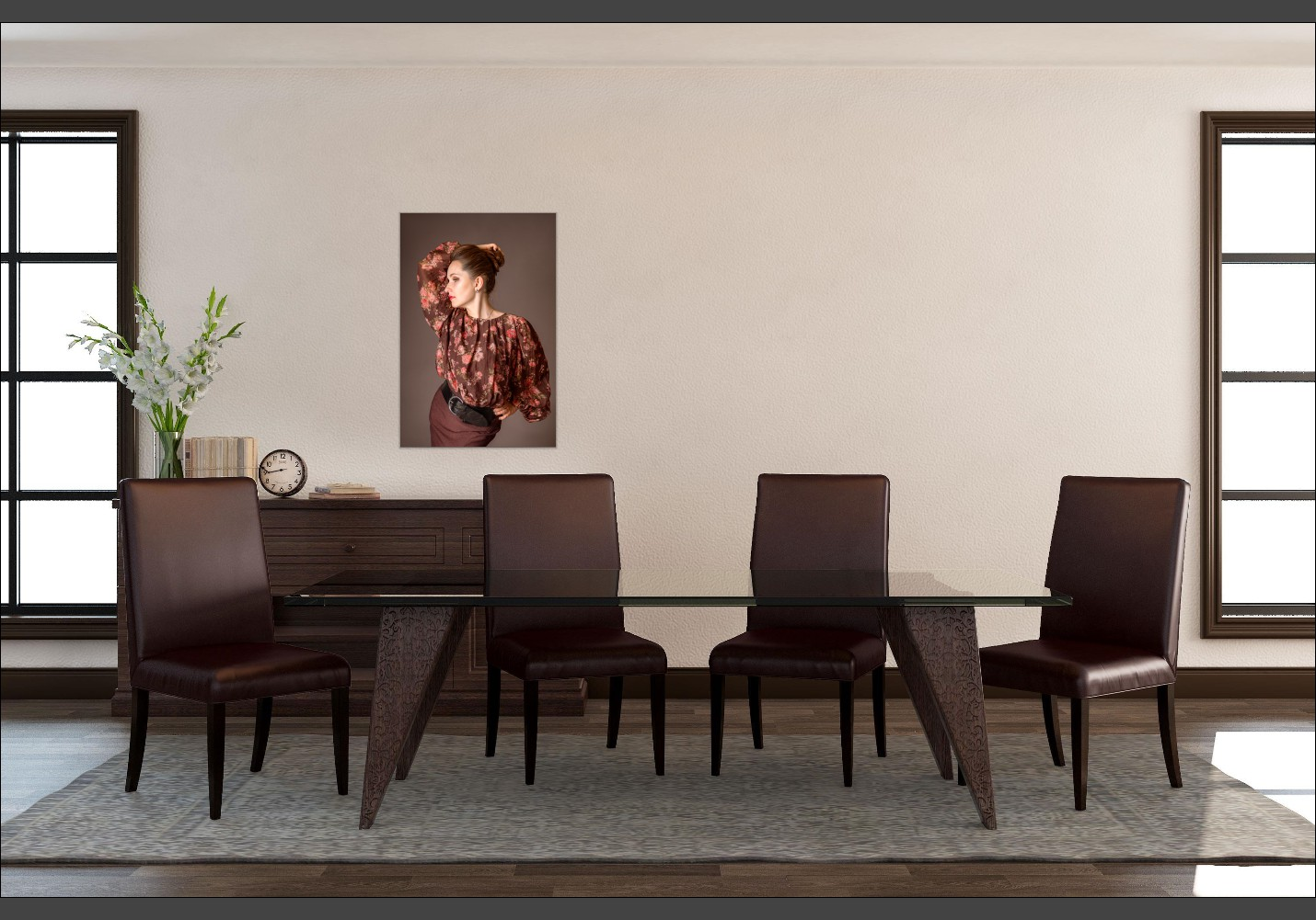 Room view of a fine art portrait