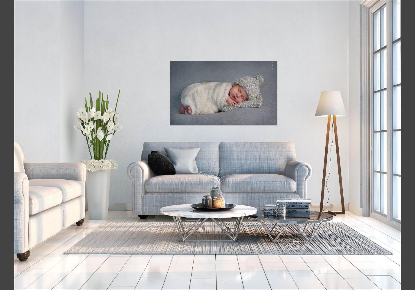 Room view of a newborn portrait