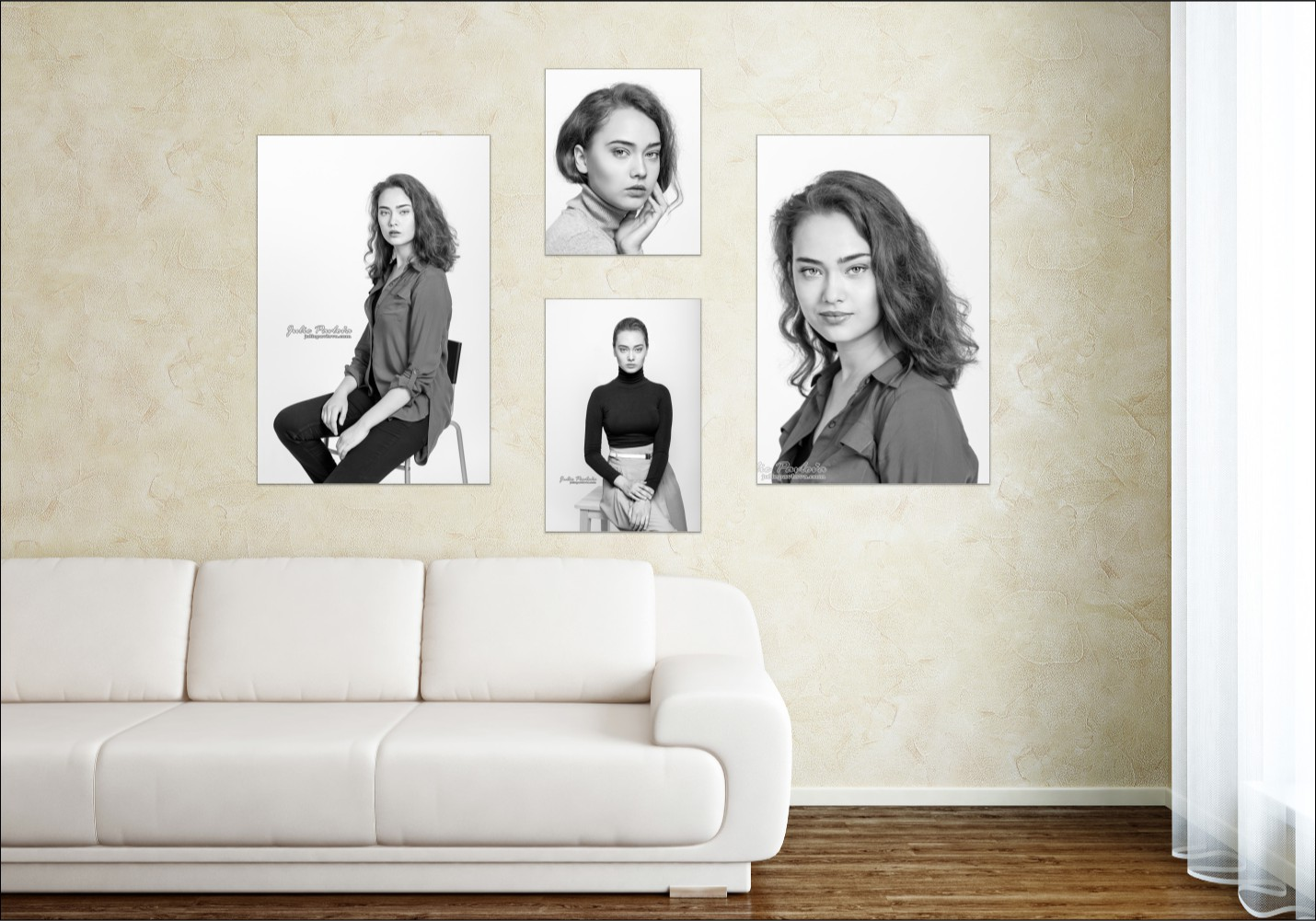 Room view of fine art portraits
